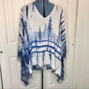 LoveStitch Cotton Fringed Tie Dye Rectangle Kimono